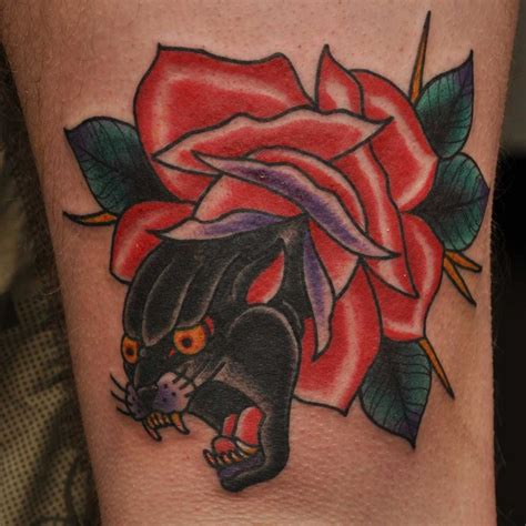 panther rose tattoo 13 best traditional tattoos by phil gibbs images on