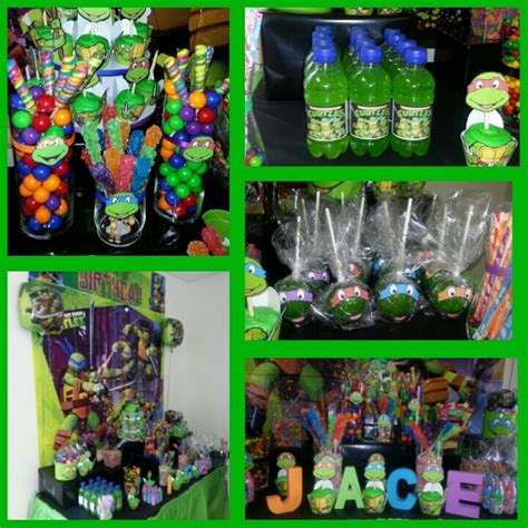 ninja turtle candy buffet greencandyapples hawaiianpunch