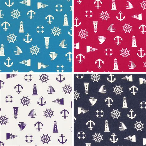 yacht pattern fabric cotton fabric by fat quarters nautical sailboat anchor