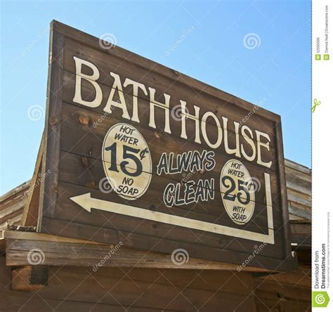 A Frame House a vintage wooden frame bath house sign stock photo image