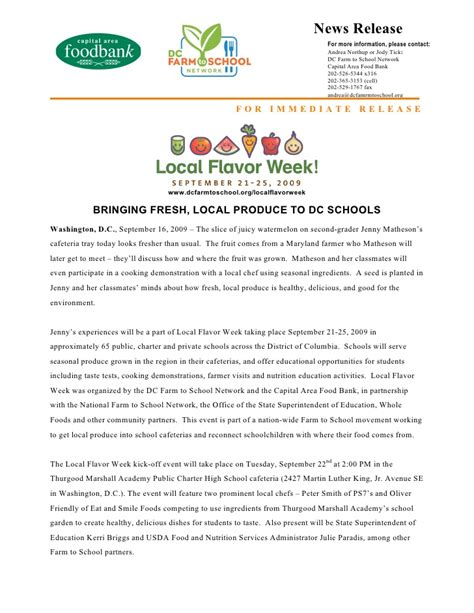 local food week press release