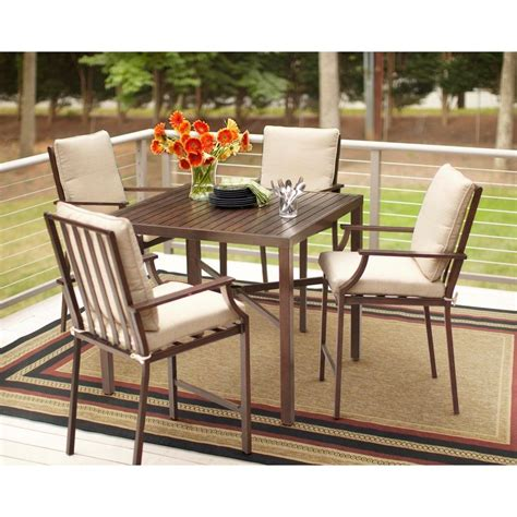 Hton Bay Millstone 5 Piece Patio High Dining Set With High Patio Dining Set