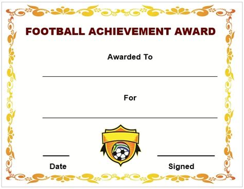 football certificate template 30 free printable football certificate templates awesome