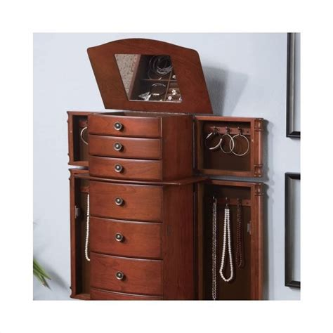 Jewelry Armoire Hardware by Coaster Seven Drawer Jewelry Armoire With Antiqued