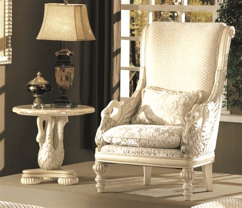 Luxury Living Room Furniture Sets by Avignon Antique White Swan Motif Luxury Formal Living Room