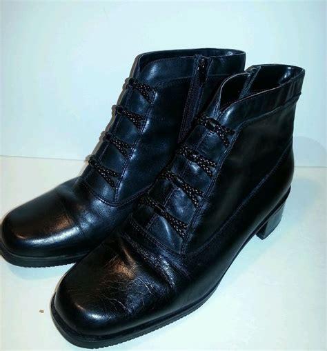 and barrow boots black leather barrow 9w side zipper braid ankle