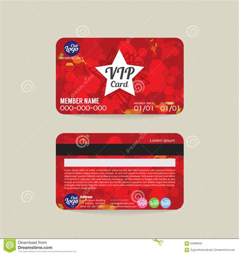member card design template front and back vip member card template stock vector