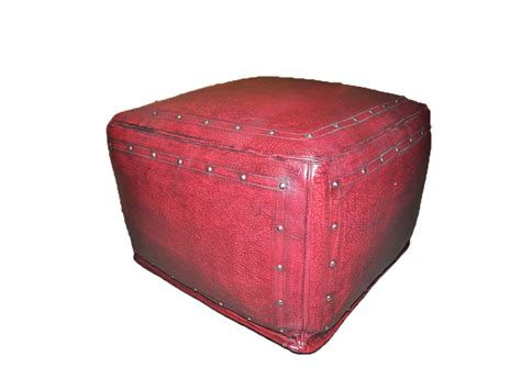 Large Square Leather Ottoman Tooled Leather Large Square Ottoman With Tack Trim In