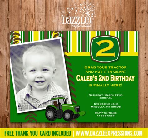 free printable john deere thank you cards printable boys tractor birthday invitation john deere