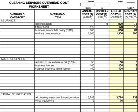 janitorial bidding spreadsheet joy studio design