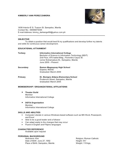 Sle Resume Format Ojt Students by Bsit Resume Resume Ideas