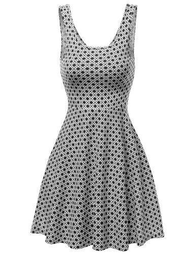 free pattern skater dress doublju women sleeveless back ribbon star pattern a line
