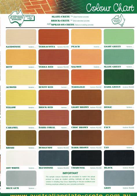 concrete color chart concrete colour charts paving solutions concreters
