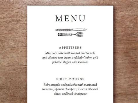 black and white menu vintage cutlery black and white printable menu template 2435292 weddbook