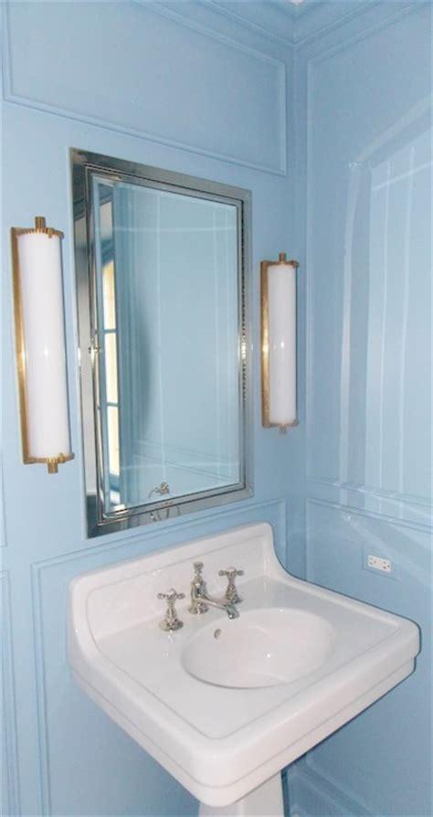 blue bathroom wall paint transitional bathroom