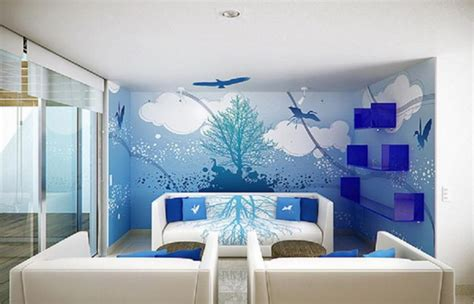 marvelous room wall designs with scenary painting plus simple downlight on plain ceiling above