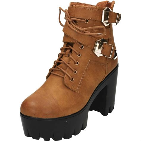 Zip Up High Heel Ankle Boots chunky high heel platform lace up zip ankle boots