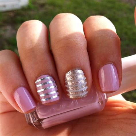design your nails with tape essie neo whimsical with silver nail striping tape and