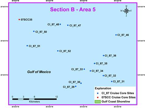 section area study area map section b area 5 archive of sediment