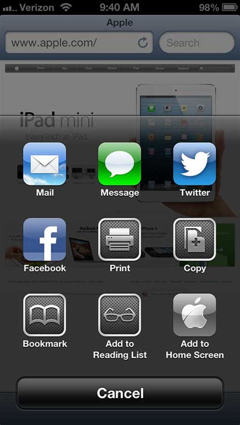 create a website icon on an iphone 5 home screen solve