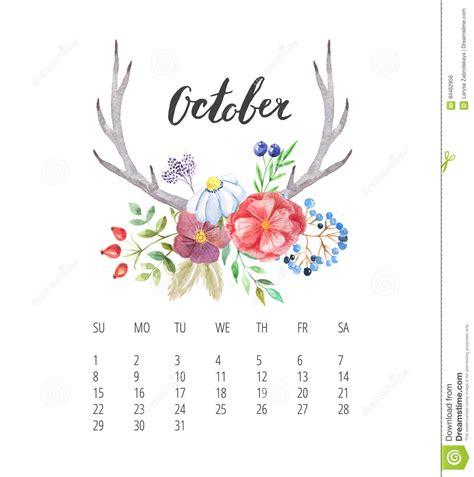 molde do calend 225 da aquarela pelo ano do outubro de