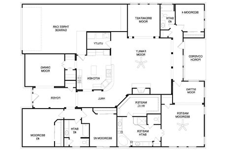 Four Bedroom Floor Plans Single Story by 4 Bedroom House Plans One Story 2018 House Plans And