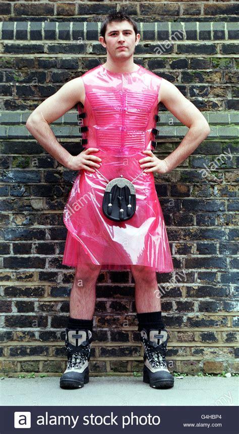 mens fashion weekpink kilt stock photo  alamy
