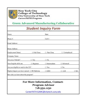 enquiry form format fill online printable fillable