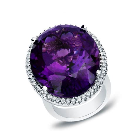 14k white gold amethyst and 1ct tdw cocktail ring