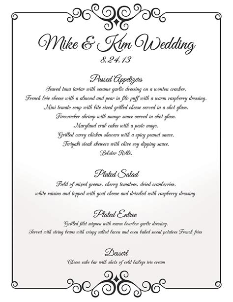 wedding breakfast menu template nyc wedding caterer oliver s gourmet catering