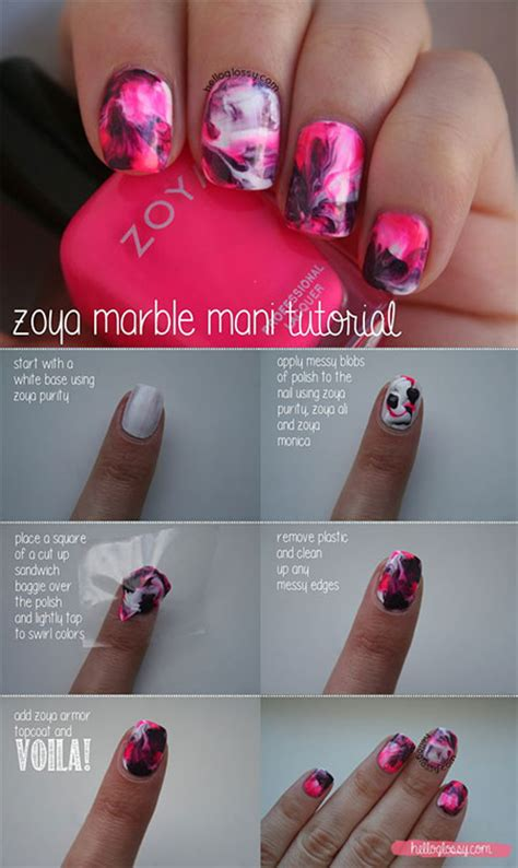 tutorial nail art marble 18 easy step by step summer nail art tutorials for