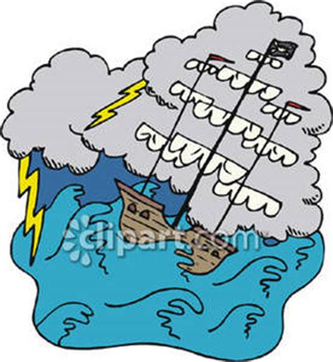 a sinking pirate ship in a storm royalty free clipart