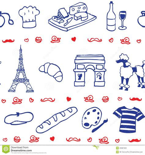 seamless pattern en francais french icon symbol seamless pattern stock photography