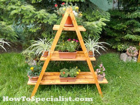 diy ladder plant stand myoutdoorplans  woodworking
