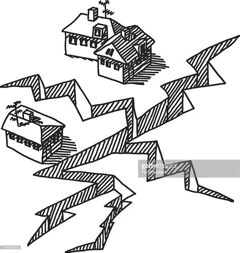 Earthquake Drawing | earthquake crack buildings drawing vector art getty images