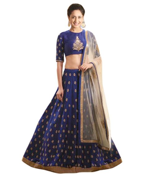 Online Home Decor Boutiques by Buy Blue Banglori Silk Party Wear Ghagra Choli Online