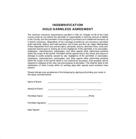 indemnity agreement template free hold harmless agreement