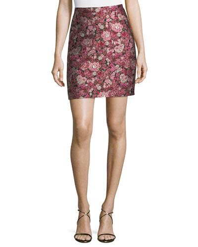 pink patterned mini skirt adam lippes floral brocade mini skirt in pink pattern