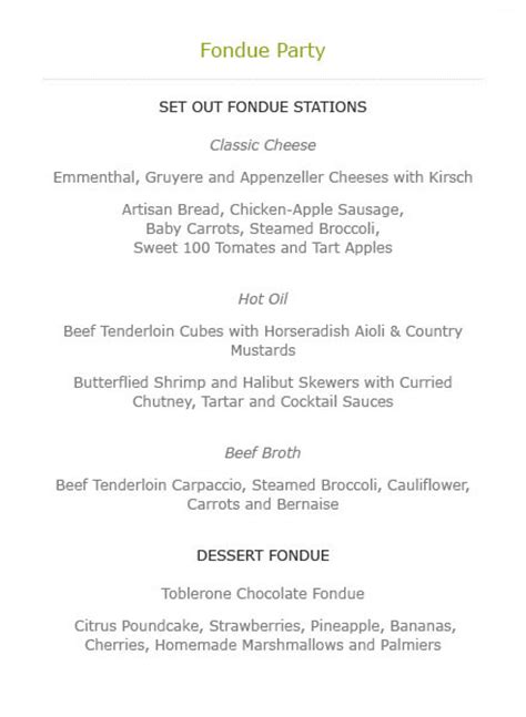 fondue dinner menu epicure catering in aspen colorado food that makes