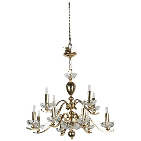 Elegant Twelve Arm Polished Brass Chandelier At 1stdibs Polished Brass Chandeliers