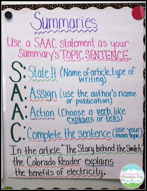 writing summaries summary topic sentences and students