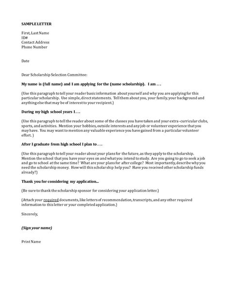 scholarship cover letters letter of application letter of application sle
