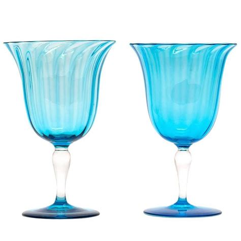 Martini Table With Bird 12 Celeste Blue Steuben Water Goblets At 1stdibs