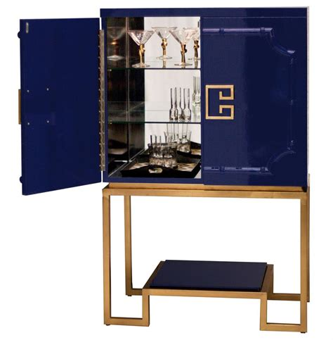 Gold Bar Cabinet Bombay Regency Navy Blue Lacquer Gold Bar Cabinet Kathy Kuo Home