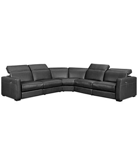 nicolo 5 leather reclining sectional sofa with 3
