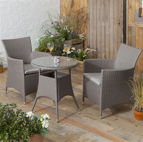 Rattanstühle Garten by New Rattan Style Bistro Set Garden Patio Table With 2 Chairs Grey