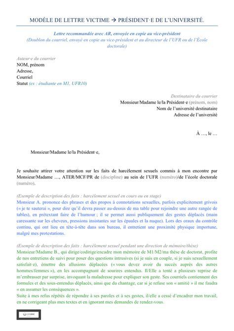 Modèle De Lettre Pour Harcèlement Au Travail mod 232 le de lettre plainte pour harc 232 lement sexuel doc