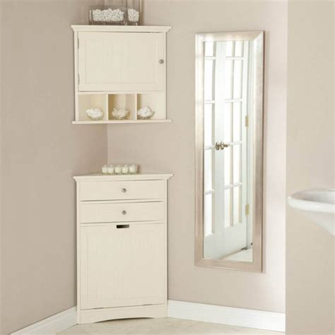 Simple Bathroom Corner Cabinet for Narrow Bathroom Design