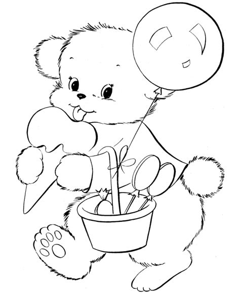happy birthday teddy bear coloring page teddy bear coloring pages cute birthday bear coloring