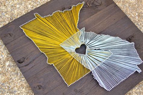 State String - two state string on 21x21 stained wood by